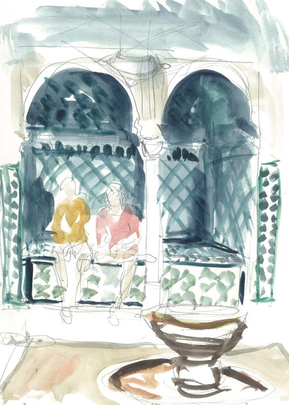 Sultans' bath Alhambra. drawing