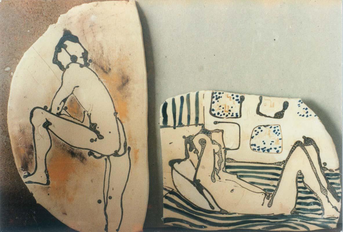 Small clay sketches in cuerda seca