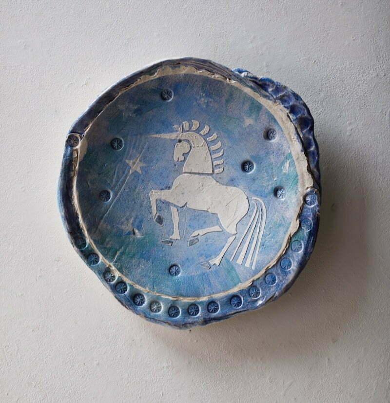 Decorative dish. 'Unicorn 1' Mythological beasts series